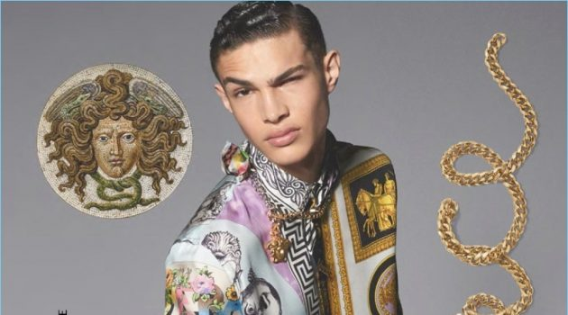 Noah Luis Brown sports one of Versace's opulent printed shirts for the brand's spring-summer 2018 campaign.