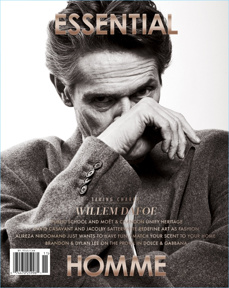 Willem Dafoe covers Essential Homme.
