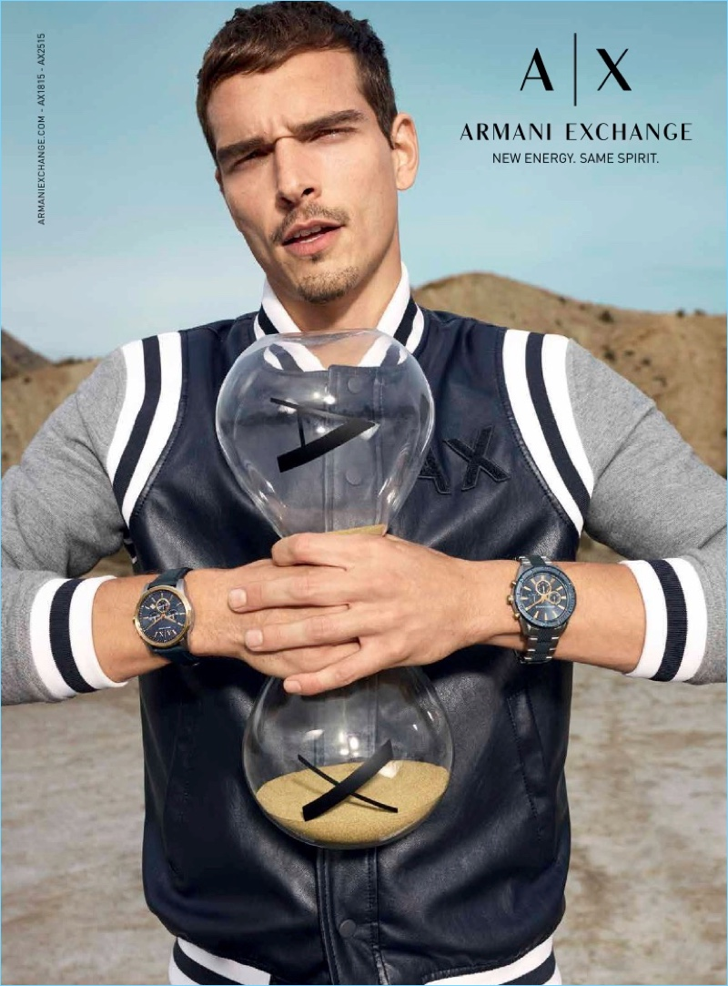 Alexandre Cunha reunites with Armani Exchange for its spring-summer 2018  watches campaign.
