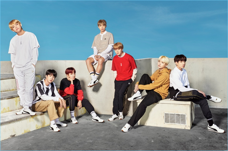 Making a sporty style statement, BTS fronts a campaign for Puma.