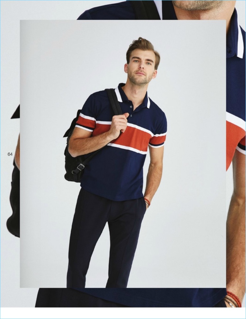 Ready for travel, Patrick Kafka wears a color-blocked polo from Beymen Collection.