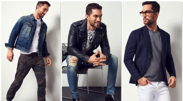 Tobias Sorensen models denim looks for a new style guide from Bloomingdale's.