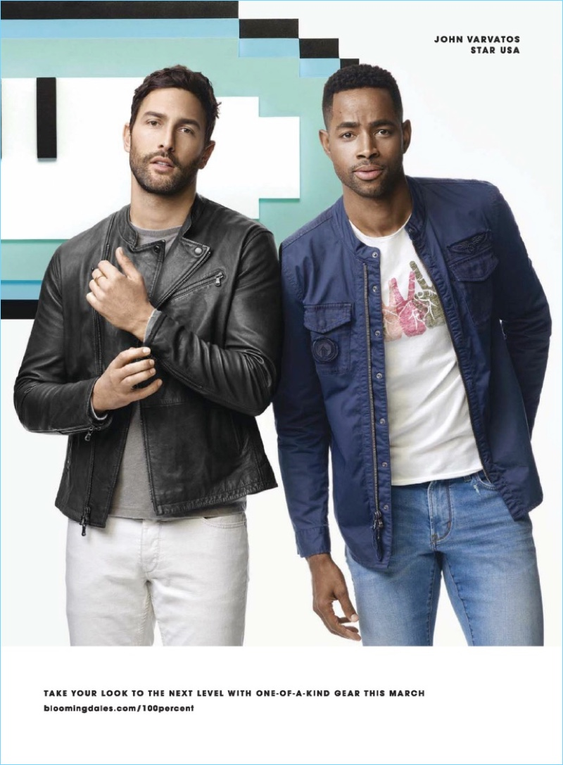 Bloomingdale's enlists Noah Mills and Jay Ellis to showcase the latest from John Varvatos Star USA.