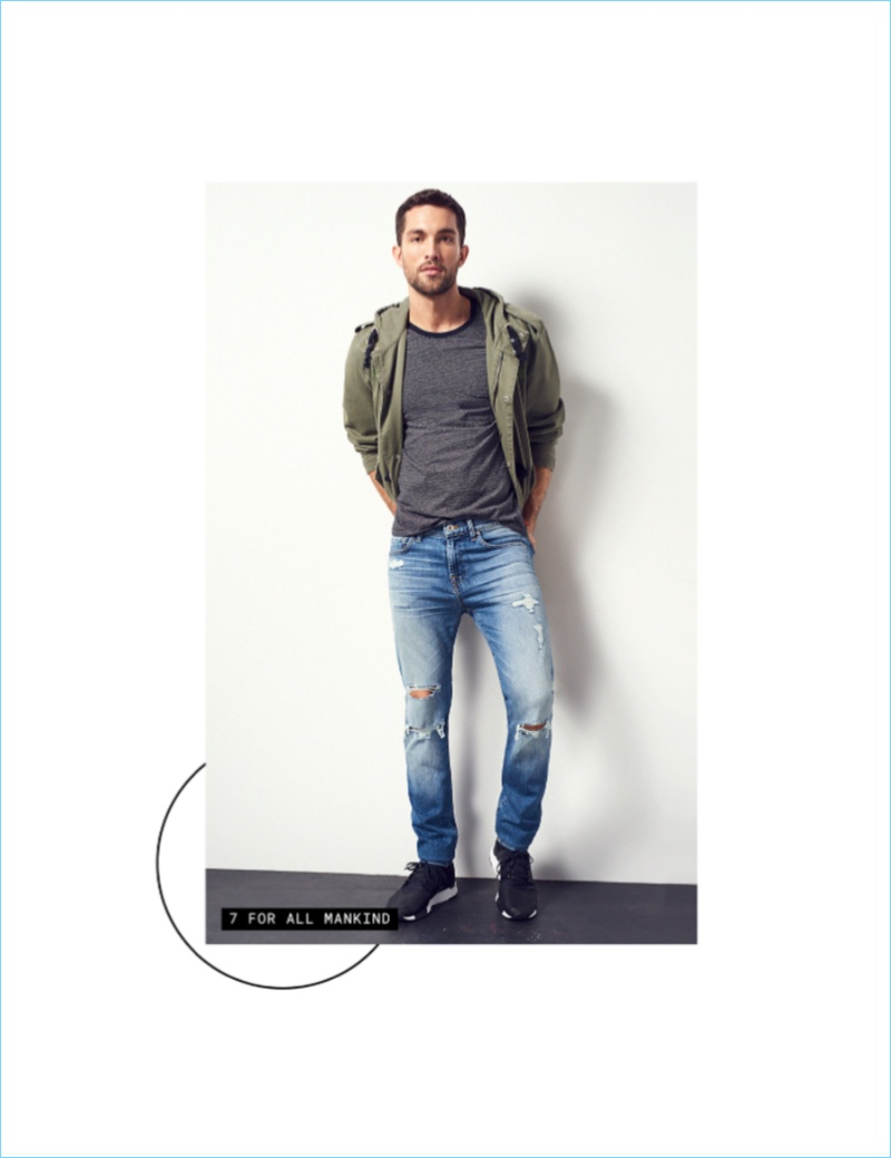 Rip It Up: Embracing distressed denim, Tobias Sorensen wears 7 For All Mankind.