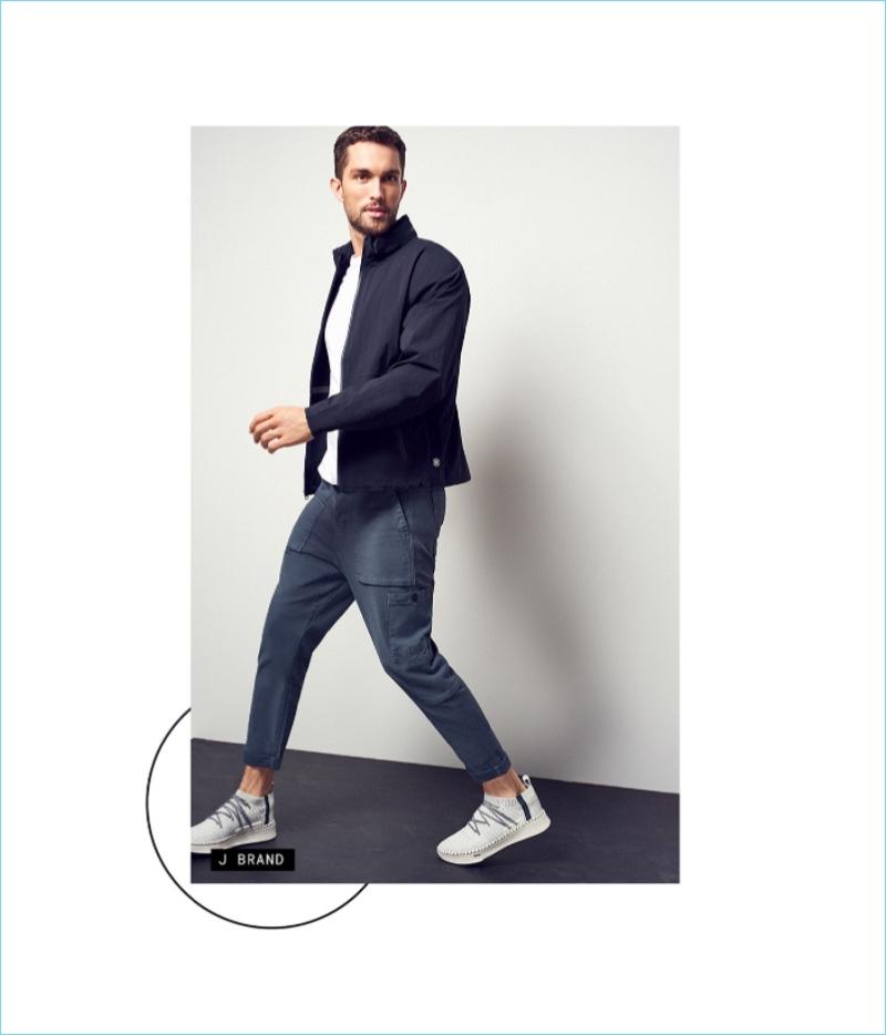 Try Something New: Wearing J Brand, Tobias Sorensen sports a jean-cargo pants hybrid.