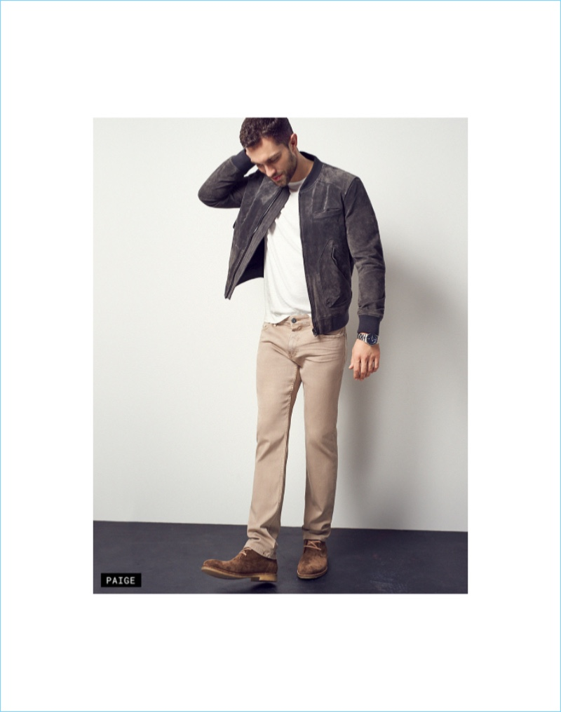 Get Some Color: Tobias Sorensen wears khaki colored jeans from Paige Denim.