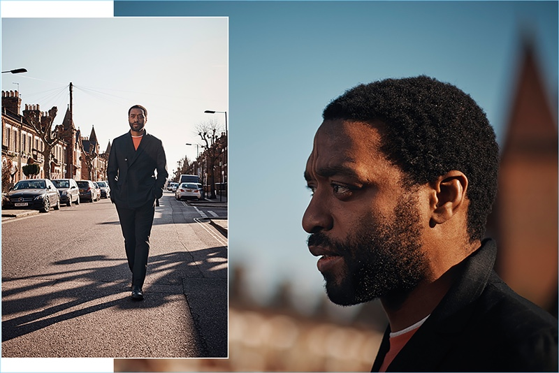 Stepping outside, Chiwetel Ejiofor wears a Bottega Veneta double-breasted jacket and trousers with a Brunello Cucinelli t-shirt. He also dons Dries Van Noten leather boots.