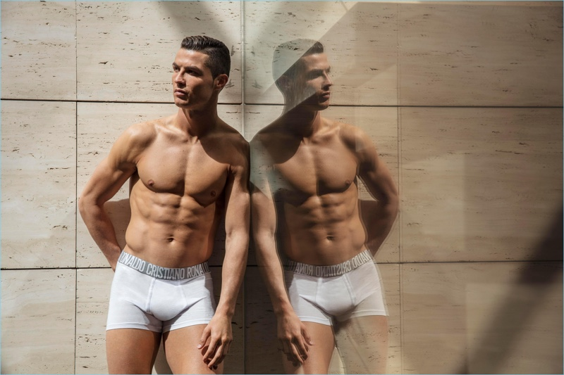 Mirrored, Cristiano Ronaldo fronts the spring-summer 2018 campaign for CR7 Underwear.