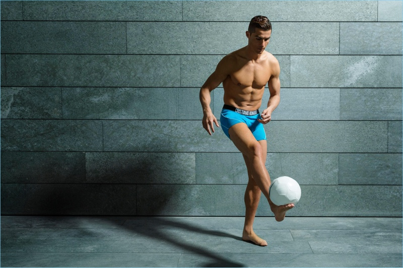 Kicking a soccer ball, Cristiano Ronaldo stars in CR7 Underwear's spring-summer 2018 campaign.