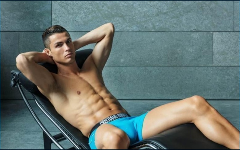Reclining, Cristiano Ronaldo stars in the spring-summer 2018 campaign for CR7 Underwear.