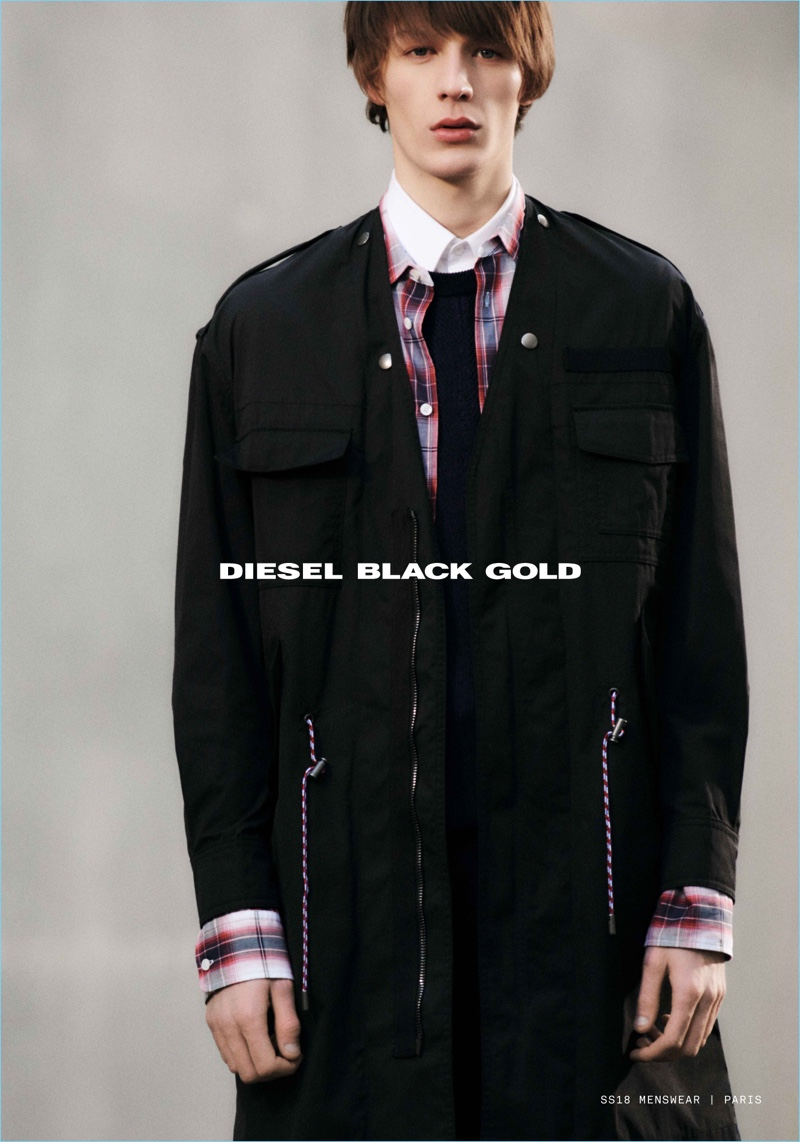 Finnlay Davis stars in Diesel Black Gold's spring-summer 2018 campaign.