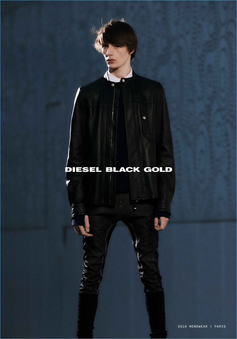 Model Finnlay Davis stars in Diesel Black Gold's spring-summer 2018 campaign.