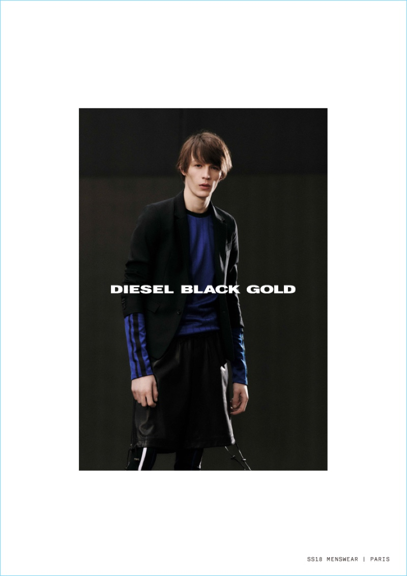 Front and center, Finnlay Davis stars in Diesel Black Gold's spring-summer 2018 campaign.