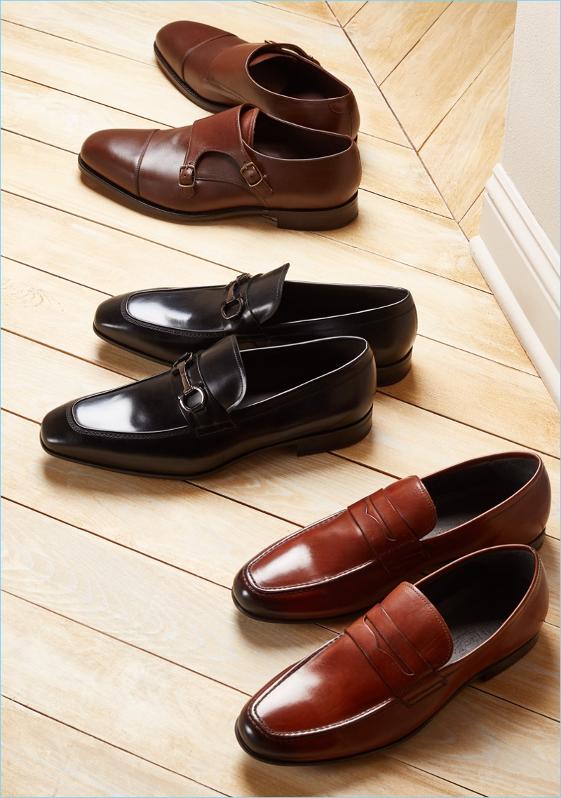 Dress Shoes (Pictured Top to Bottom): Loake 1880 Cannon Monk Strap Shoes, Salvatore Ferragamo Dinamo Bit Loafers, To Boot New York Alek Loafers