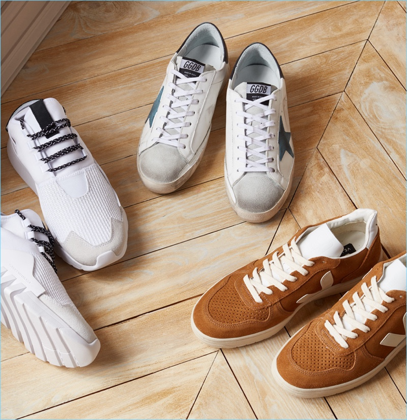 Sneakers (Pictured Left to Right): Y-3 Ayero Sneakers, Golden Goose Superstar Sneakers, Veja V-10 Suede Sneakers