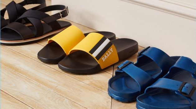 Sandals (Pictured Left to Right): Want Les Essentiels Jobim Sandals, Bally Saxor Slides, Birkenstock EVA Arizona Sandals