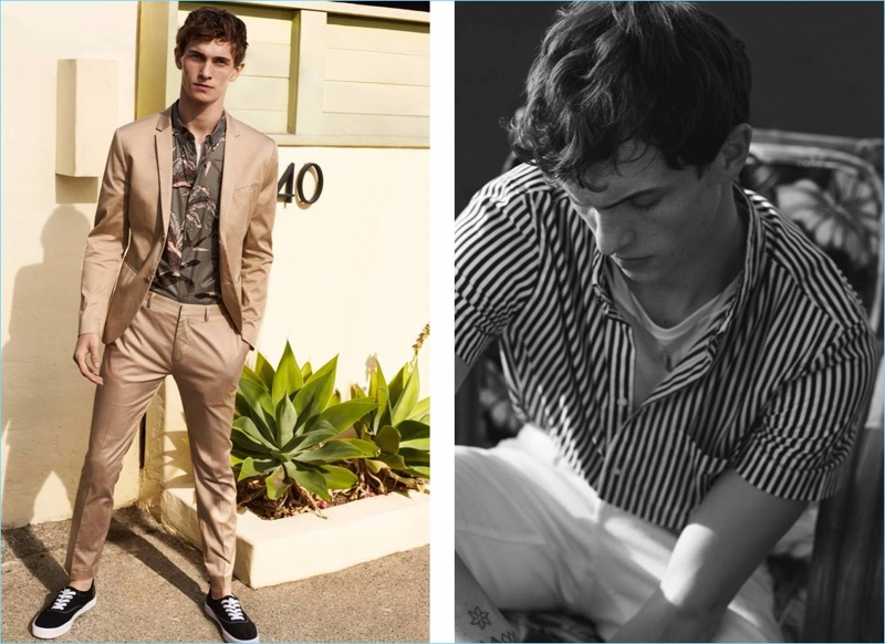 Left: Luc Defont-Saviard dons a H&M suit with a floral print shirt. Right: Luc sports a striped short-sleeve shirt, tee, and white pants by H&M.