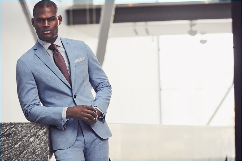 A dapper vision, Oraine Barrett links up with J.Hilburn for spring 2018.