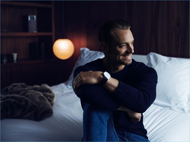 All smiles, Joel Kinnaman fronts Carl Edmond's new campaign.