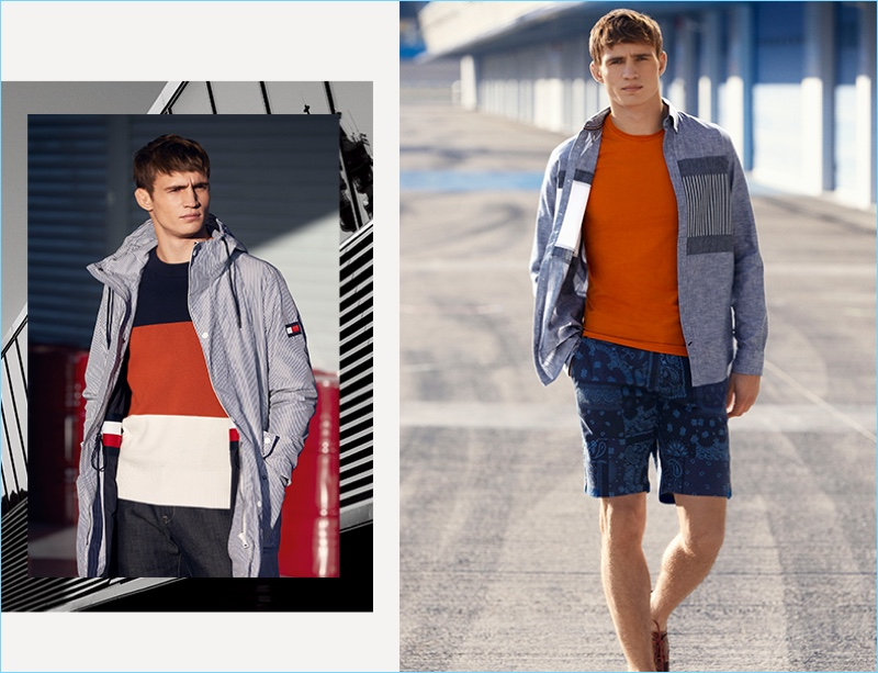 Connecting with Tommy Hilfiger, Julian Schneyder wears fashions inspired by the racing track.