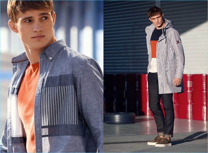 Model Julian Schneyder sports casual looks from Tommy Hilfiger.