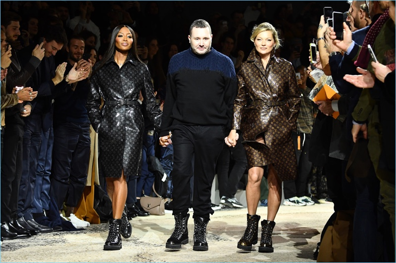 Kim Jones joins supermodels Naomi Campbell and Kate Moss as he takes his final walk for Louis Vuitton on January 18, 2018 in Paris, France.