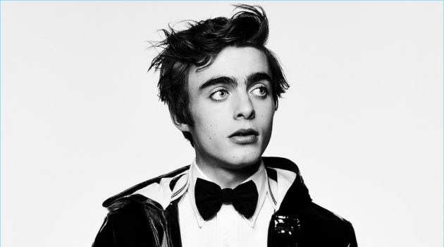 Lennon Gallagher wears bow-tie Dsquared2, trousers Ann Demeulemeester, jacket and shirt Thom Browne.