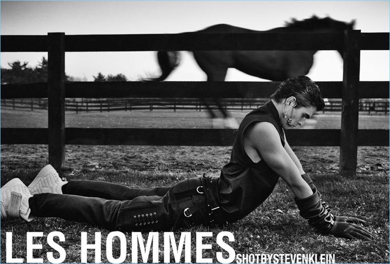 Steven Klein photographs Diego Villarreal for Les Hommes' spring-summer 2018 campaign.
