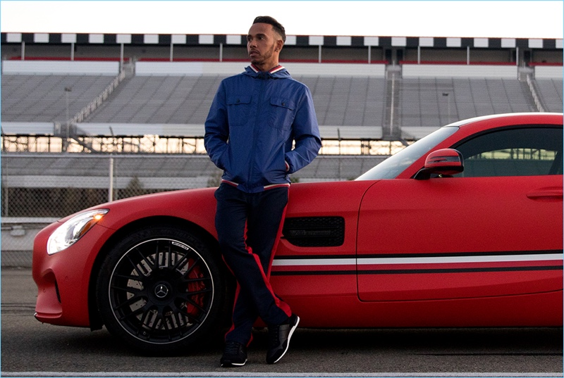 Taking to the track, Lewis Hamilton goes casual in Tommy Hilfiger.