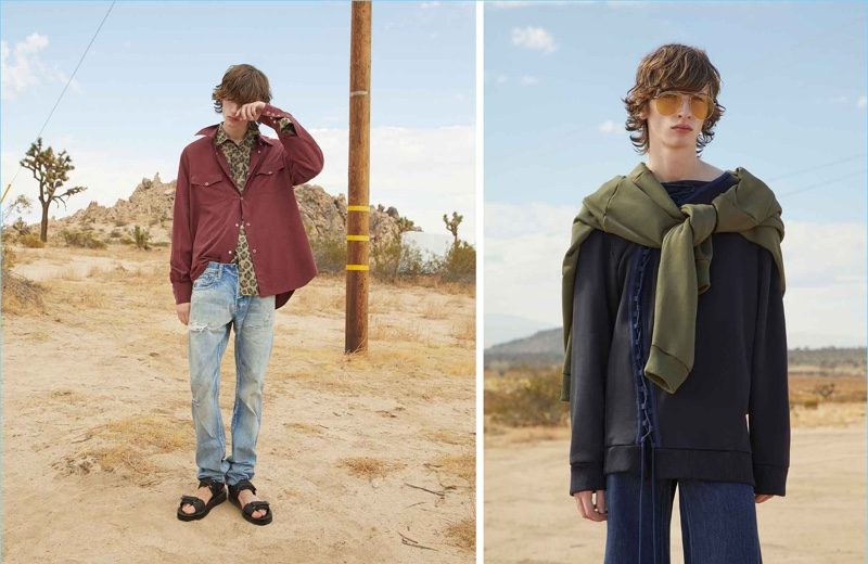 Left: Benno Bulang wears a Ranger shirt and leopard-print shirt by Cobra S.C. Embracing a relaxed silhouette, he also sports Demon straight-leg jeans by Prps Japan with multi-strap leather sandals by Maison Margiela. Right: Benno dons a sweatshirt, lace-up sweatshirt, and frayed jeans by Marques'Almeida. Andy Wolf's oversized aviator sunglasses finish his outfit.