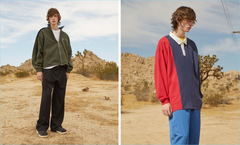 Left: Oversized silhouettes reign as Benno Bulang wears a fleece jacket and trousers by Y/Project. Tapping into a casual aesthetic, Benno also sports a t-shirt by A Brilliant Brand with AMI sneakers. Right: Benno rocks a long-sleeved polo shirt, logo-print t-shirt and, Apollo logo-embroidered track pants by P.A.M.