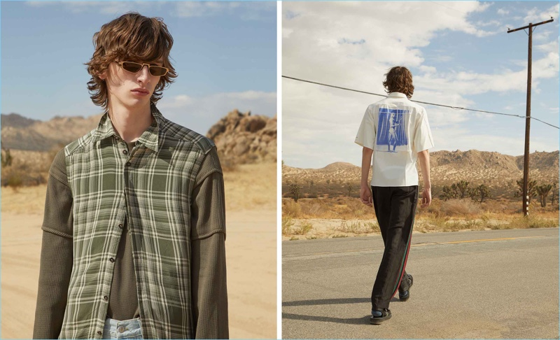Left: Benno Bulang wears a contrast-sleeve checked shirt by Wales Bonner. He also models a long-sleeved top by Helmut Lang with Faith Connexion mid-rise slim-leg jeans, and Andy Wolf sunglasses. Right: Benno rocks an artist-print short-sleeve shirt and side-striped trousers by Wales Bonner. Multi-strap leather sandals by Maison Margiela complete his look.