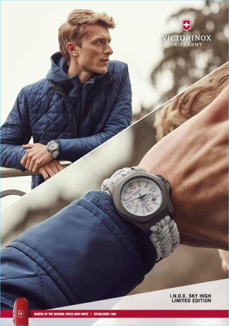 Model Max Rendell fronts Victorinox's fall-winter 2017 campaign.