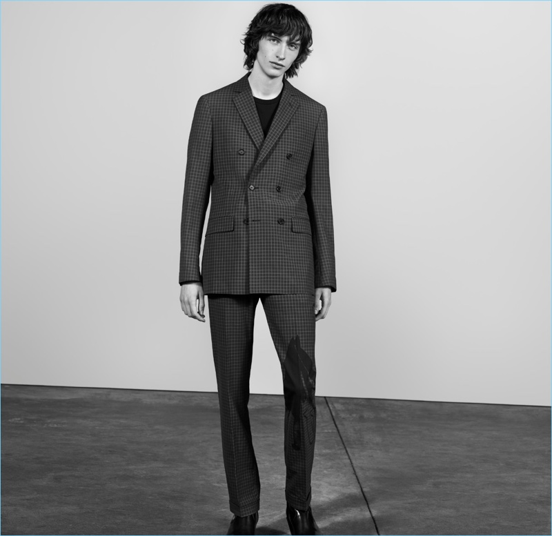 Benno Bulang dons a double-breasted suit for Nordstrom's spring 2018 men's campaign.