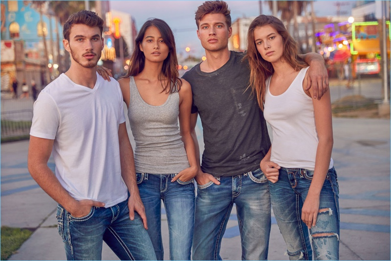 Michael Yerger, Andie Jue, Andrew Whitthorne, and Mackenzie McDonald star in Rock Revival's spring-summer 2018 campaign.