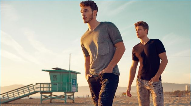 Models Michael Yerger and Andrew Whitthorne front Rock Revival's spring-summer 2018 campaign.
