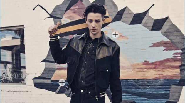 Model Ash Stymest makes a denim statement in Givenchy.