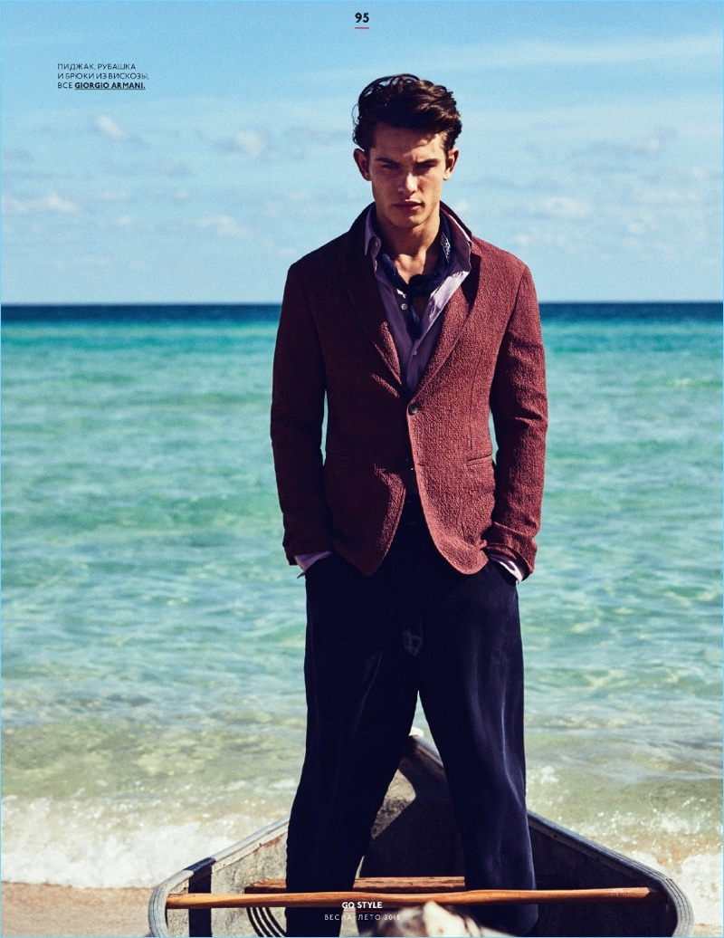 Sebastian James Channels Summer Vibe for GQ Style Russia