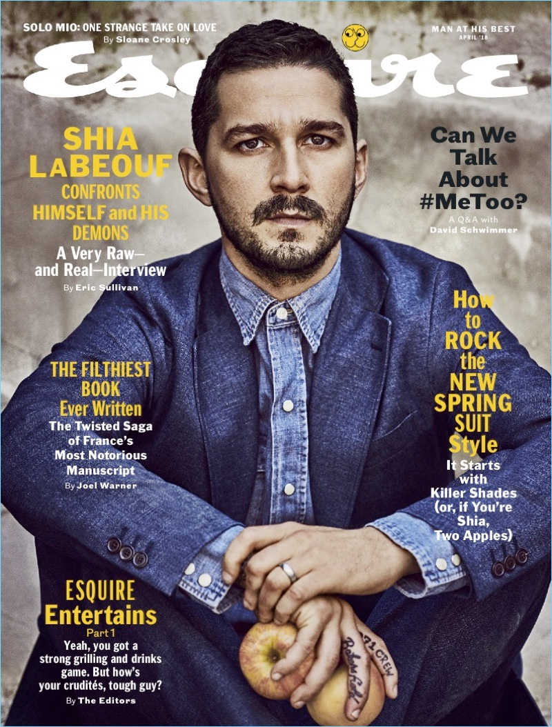 Shia LaBeouf covers the March 2018 issue of Esquire.