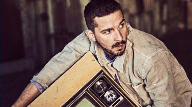 Actor Shia LaBeouf wears a Visvim jacket and Closed x Orcival shirt. He also sports Fortela trousers.