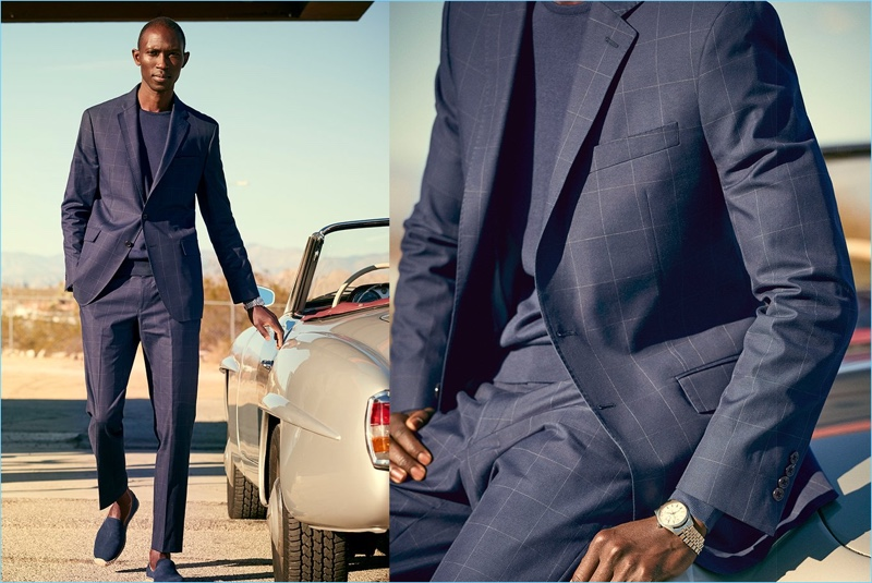 A striking vision in navy, Armando Cabral sports a Todd Snyder White Label windowpane print Sutton suit.