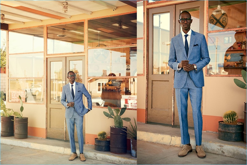 Dressed to impress, Armando Cabral wears a Todd Snyder White Label Sutton linen suit in ice blue.