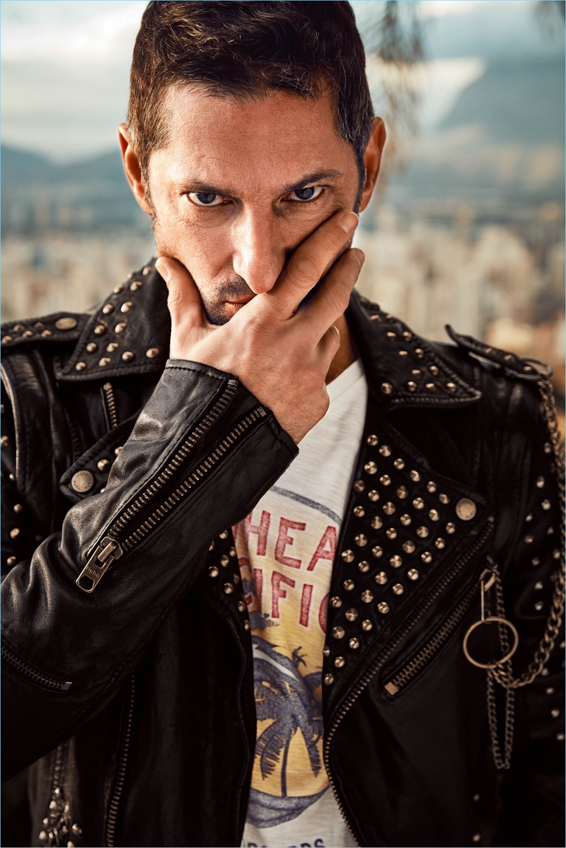 Model Tony Ward rocks a studded leather jacket for Wormland's spring-summer 2018 campaign.