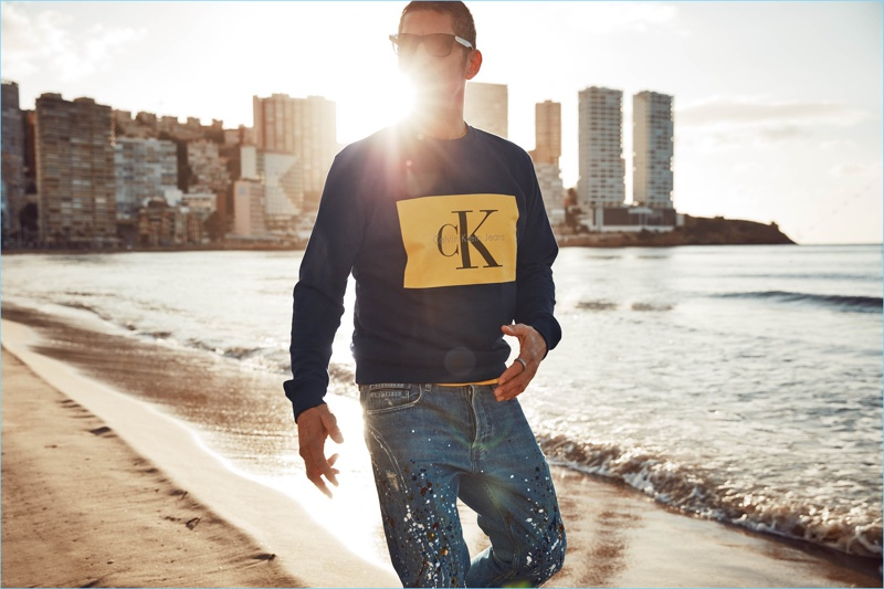 Going casual in a CK sweatshirt, Tony Ward stars in Wormland's spring-summer 2018 campaign.