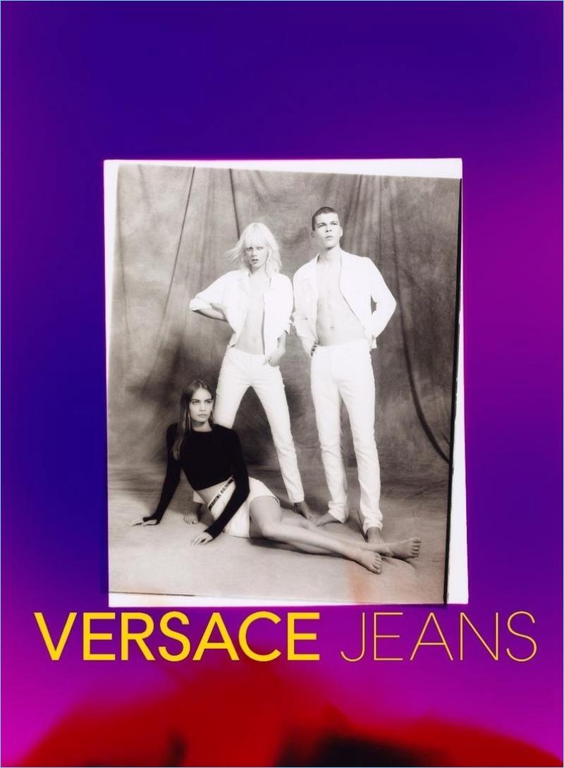 Versace enlists Nina Marker, Marjan Jonkman, and Leonard Mushiete for its spring-summer 2018 campaign.
