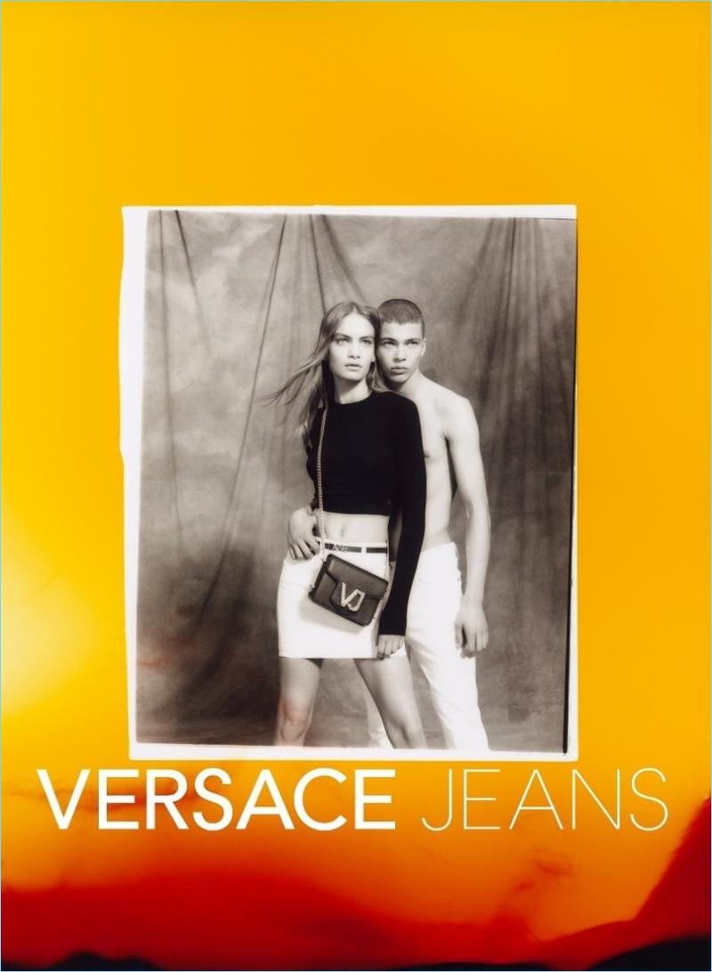 Models Nina Marker and Leonard Mushiete couple up for Versace Jeans' spring-summer 2018 campaign.