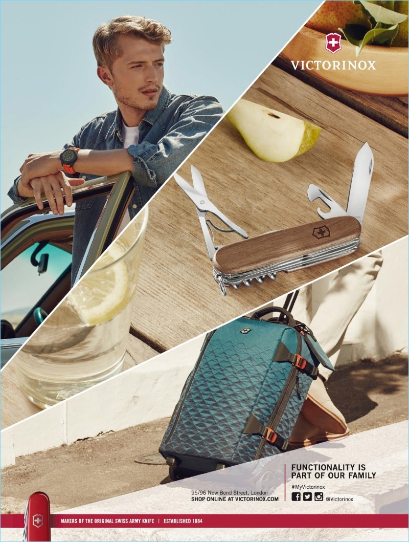 Max Rendell stars in Victorinox's spring-summer 2018 campaign.