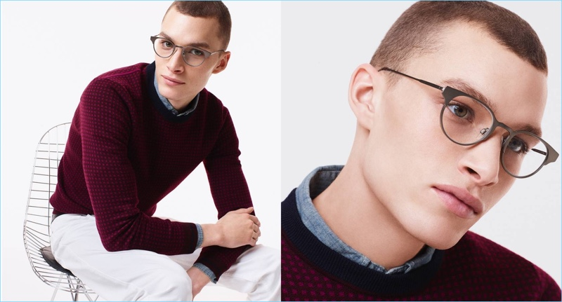 A smart vision, Louis Mayhew dons Warby Parker's Fields eyeglasses in carbon.