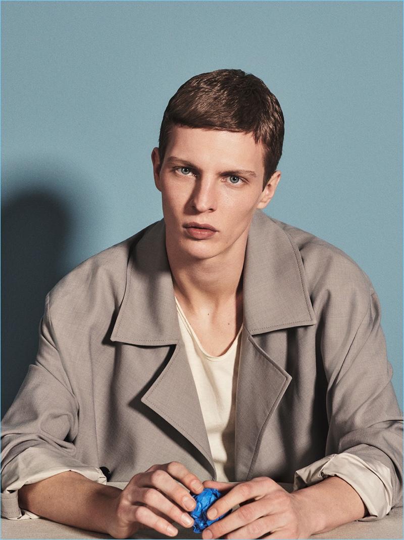 Model Tim Schuhmacher stars in a spring editorial for Zara Man.