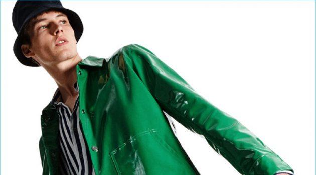 0f340016 Ready to turn heads, Frederik Ruegger wears a shiny green jacket from Zara  Man.